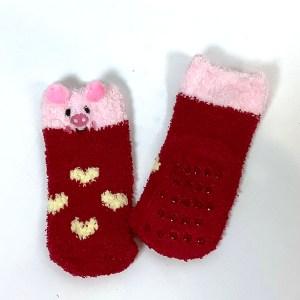 Toddler fluffy non-slip gripper socks Cape Ivy Pigs