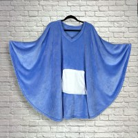 Teen Adult Hospital Gift Fleece Poncho Cape Ivy Periwinkle Blue