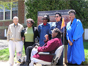 "Alumni and descendents of alumni attended the dedication of an interpretive sign in front of the Franklin Street School in April 2004.  Left to right:  John Nash, Emily Dempsey, Wanda Evelyn, Dorothy Jarmon, Robin Wise, Shirley ""Becki"" Wilson"