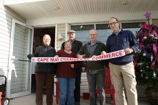 L to R: Cathy Sauerkopf, Cape May Chamber of Commerce; Doreen Talley, CM Chamber of Commerce Marketing Director; Barry Tischler (random customer) Ron Sayle, owner; and Ron Goldstein, CM Chamber of Commerce President