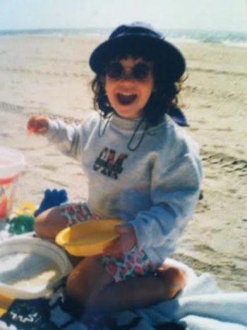 Relaxing on Trenton Avenue beach, age 4.