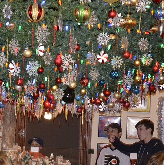The ornaments on the indoor Christmas tree at the Physick Estate