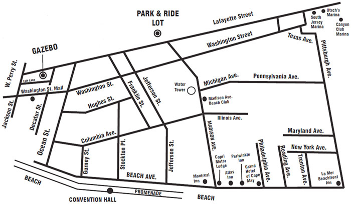 Free Park & Ride Service, Trolley Route in Cape May NJ