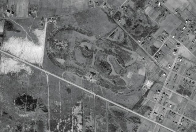 An aerial view of the race track, taken in 1933