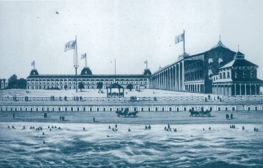 Rendering of the original Congress Hall in the 1800s, pre-fire
