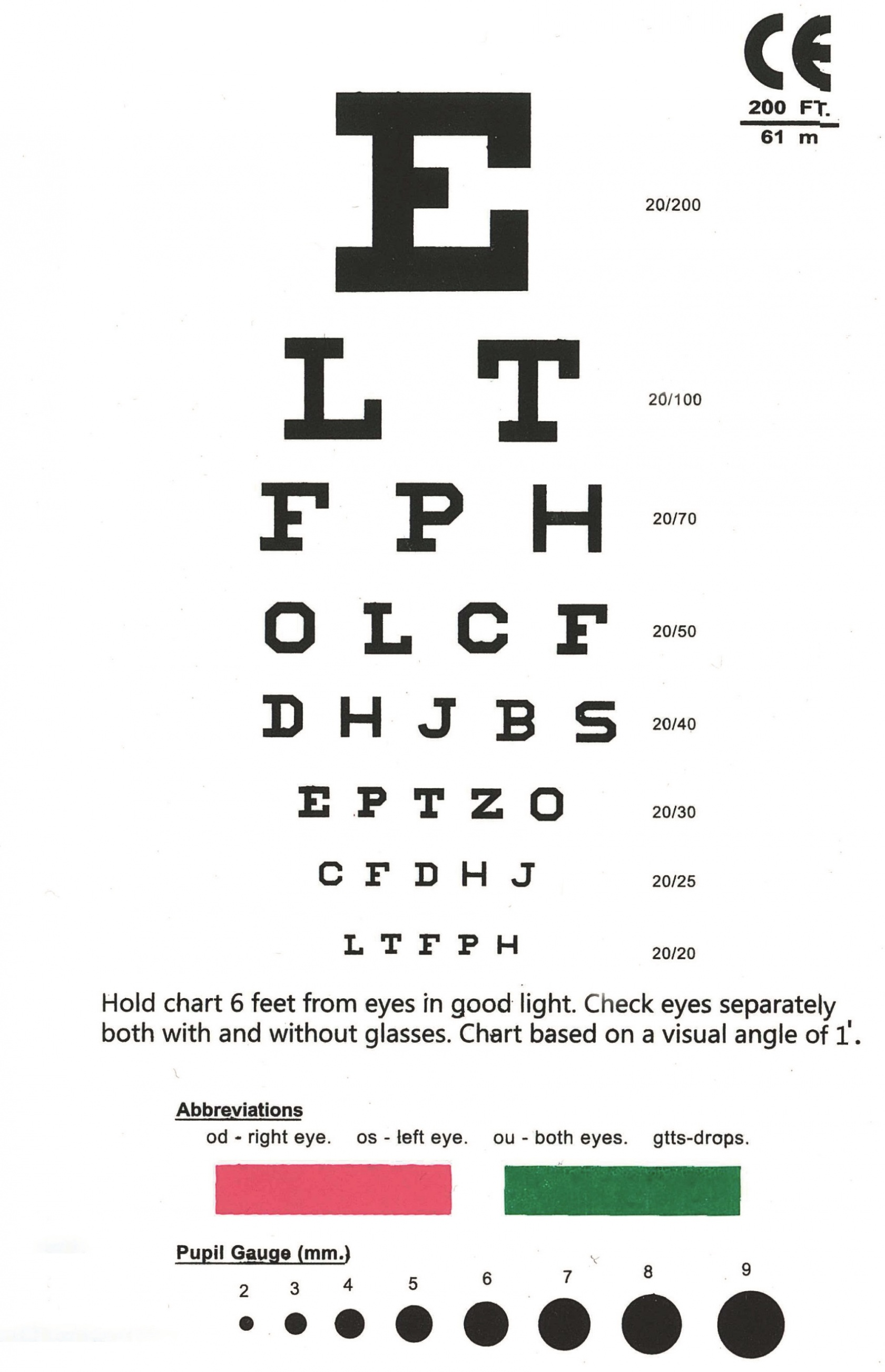 Eye Chart Snellen Pocket Eye Chart