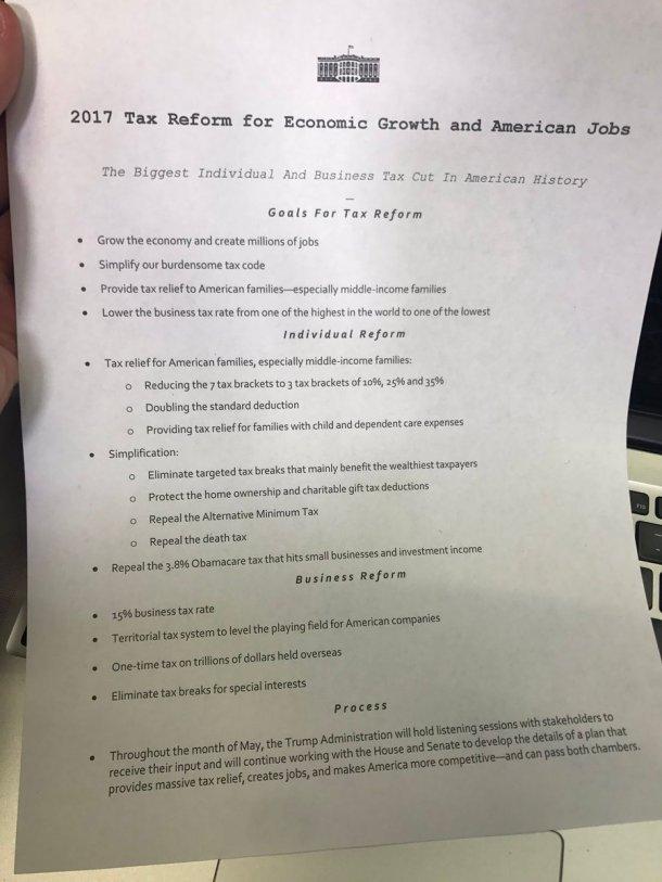 Ιδού το σχέδιο Τραμπ για την φορολογική μεταρρύθμιση