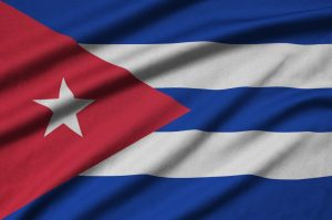 Cuba flag is depicted on a sports cloth fabric with many folds