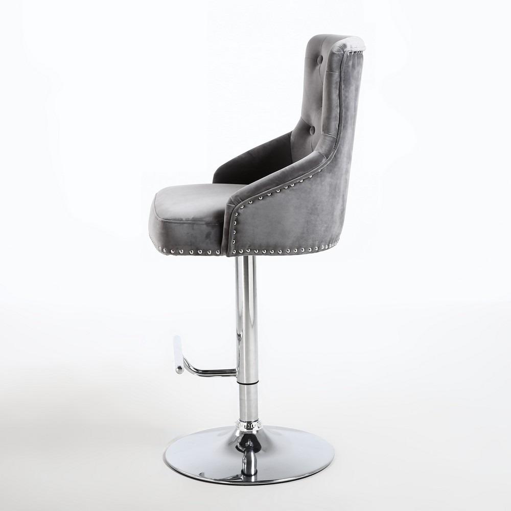 swivel chair leather upholstered dining arm rocco grey brushed velvet buttoned back bar stool | shankar
