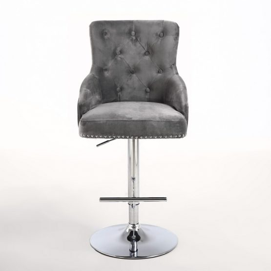 black leather chair dining folding target rocco grey brushed velvet buttoned back bar stool | shankar