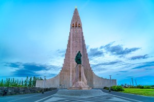 Hallgrímskirkja church in Reykjavik. The statue of Leif Erikson in the foreground
