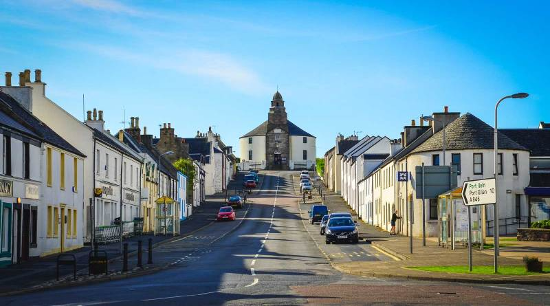 Main street in Bowmore on Islay