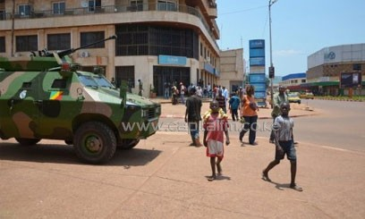 Congolese army vehicle, part of the Central African Multinational Force is parked in Bangui. Photo/AFP