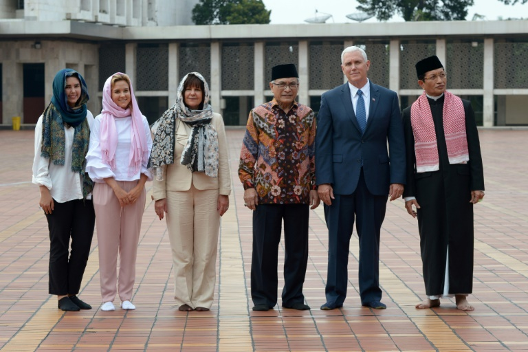 Image result for VP Mike Pence at a Mosque in Indonesia