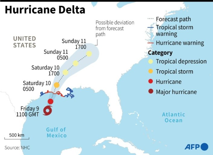 Hurricane Delta roars ashore on storm-battered US southern coast