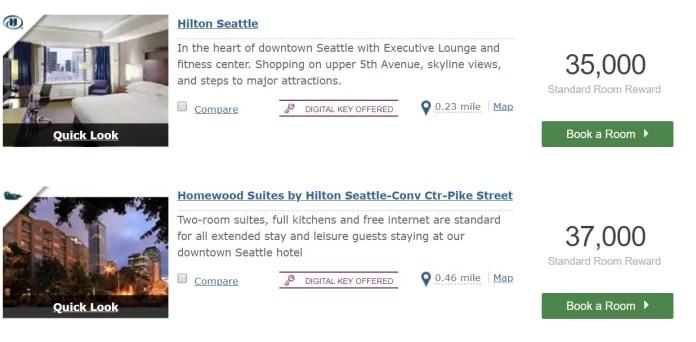 Hilton point values
