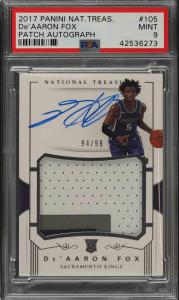 National Treasures De'Aaron Fox rookie card