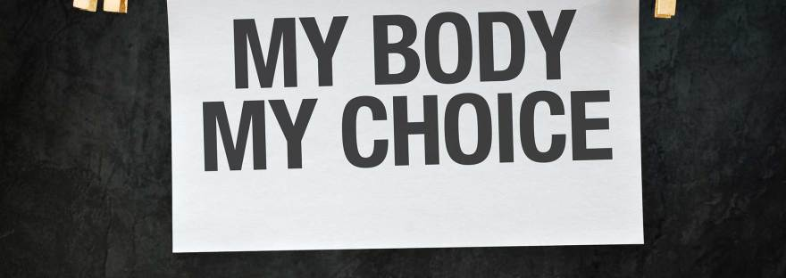my body, my choice sign pinned to twine with a clothespin