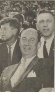 John Brademas (right) campaigns with presidential candidate Adali Stevenson (center), and then-Sen. John F. Kennedy (right).