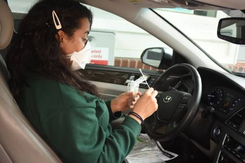 cvsB health covid 19 expanded testing drive thru test patient with test swab 1