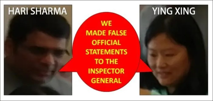 We made false official statements to the Inspector General - Hari Sharma and Ying Xing NLRB