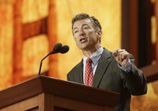 Sen. Rand Paul, R-Ky., addresses the Republican National Convention in Tampa, Fla. (AP Photo/Charles Dharapak)