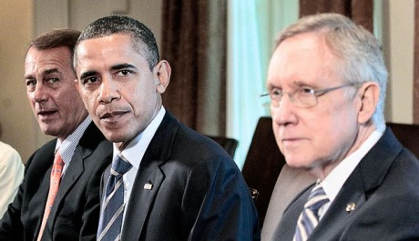 Barack Obama and his co-conspirators: A photo that belongs on a wanted poster. (AP)