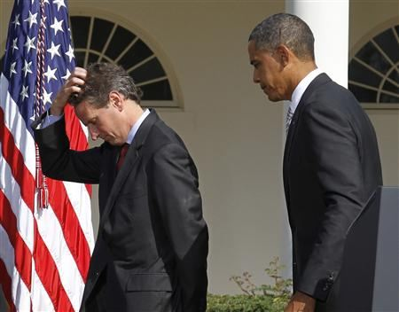 President Barack Obama (R) walks off stage with Treasury Secretary Tim Geithner after speaking about his meeting on infrastructure investment, in the Rose Garden of the White House in Washington in this October 11, 2010 file photo. Geithner's plans to leave near the end of January 2013 put the White House in a tricky spot, depriving the Obama administration of its longest-serving economic adviser for its next fiscal showdown with Congress. REUTERS/Jason Reed/File
