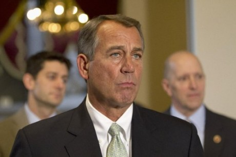 House Speaker John Boehner of Ohio, flanked by House Budget Committee Chairman Rep. Paul Ryan, R-Wis., left, and House Ways and Means Committee Chairman Rep. Dave Camp, R-Mich., speaks during a news conference on Capitol Hill in Washington,  (AP Photo/Jacquelyn Martin)