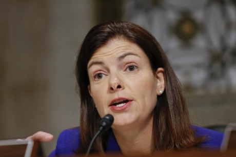 Senate Armed Services Committee member Sen. Kelly Ayotte, R-N.H., speaks at a hearing on Capitol Hill in Washington. Gun control forces are targeting Sens. Ayotte, Max Baucus and others as they struggle to persuade five senators to switch their votes and revive the rejected effort to expand background checks to more firearms buyers. (AP Photo/J. Scott Applewhite, File)