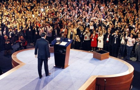 "Republican presidential candidate, former Massachusetts Gov. Mitt Romney, arrives to give his presidential election night concession speech in Boston. A 97-page election post-mortem, commissioned by the Republican Party after Romney's loss last fall, said the GOP ""is increasingly marginalizing itself, and unless changes are made, it will be increasingly difficult for Republicans to win another presidential election in the near future.""  (AP Photo/Rick Wilking, Pool)"