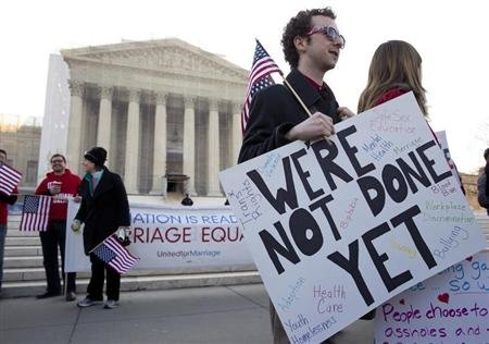Supporters of gay marriage rally in front of the Supreme Court in Washington.(REUTERS/Joshua Roberts)