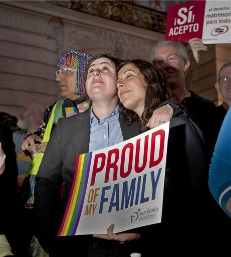 Renata Moreira, right, and partner Lori Bilella embrace at San Francisco's City Hall shortly before the U.S. Supreme Court ruling cleared the way for same-sex marriage in California. (AP Photo/Noah Berger)
