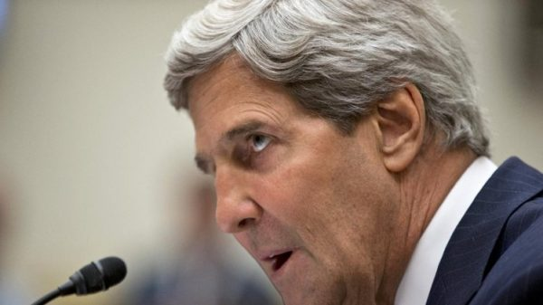 A defiant John Kerry in testimony before the House on Obama's war.  (AP Photo/J. Scott Applewhite)