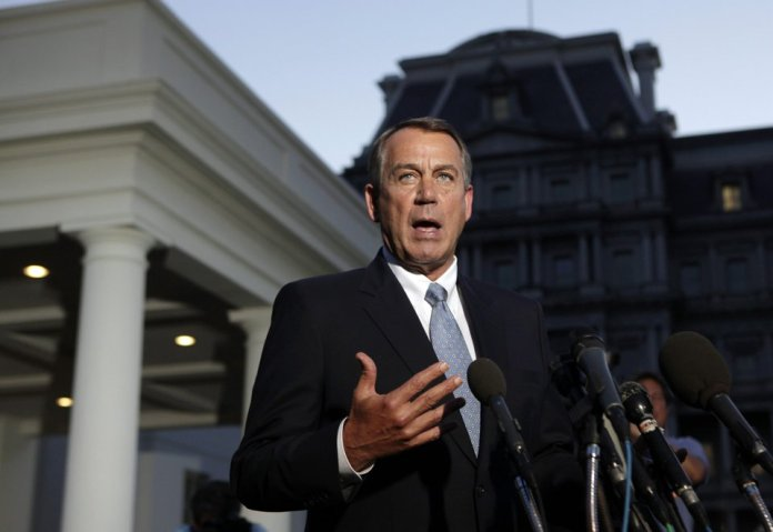 Speaker John Boehner speaks to reporters after White House meeting. (Reuters/Yuri Gripas)