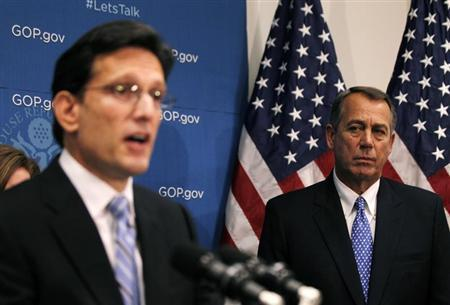 House Majority Leader Eric Cantor and Speaker John Boehner. (Reuters/Jason Reed)