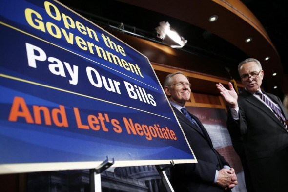 Senate Majority Leader Harry Reid and Sen. Chuck Schumer and their message. (AP/Charles Dharapak)