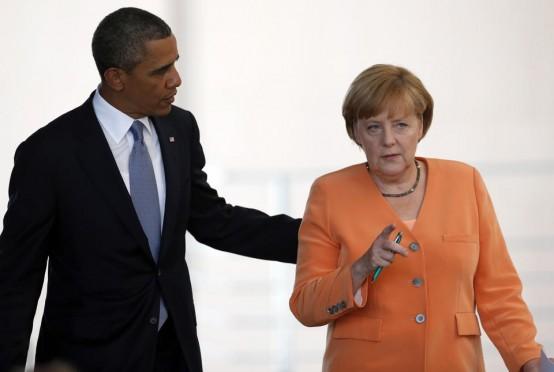 President Barack Obama and German Chancellor Angela Merkel. (AP/Michael Sohn)