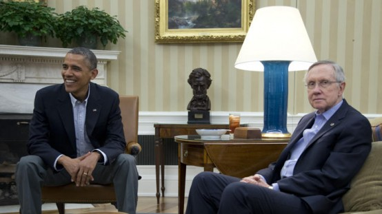 President Barack Obama and Senate Majority Leader Harry Reid: Unity? What unity? (AP/Carolyn Kaster)