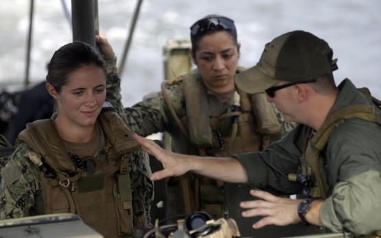 Navy Master-at-Arms Third Class Danielle Hinchliff and Master-at-Arms Third Class Anna Schnatzmeyer of Coastal Riverine Squadron 2. (AP/Gerry Boone)