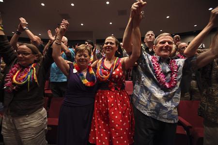 Deborah Cohn (L-R), Carolyn Golujuch, Michele Golujuch and Danny Robinson celebrate. (REUTERS/Hugh Gentry)