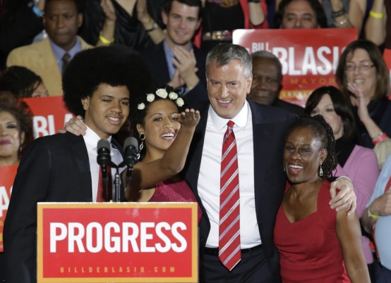 New York City Mayor-elect Bill de Blasio and family (AP/Kathy Willens)
