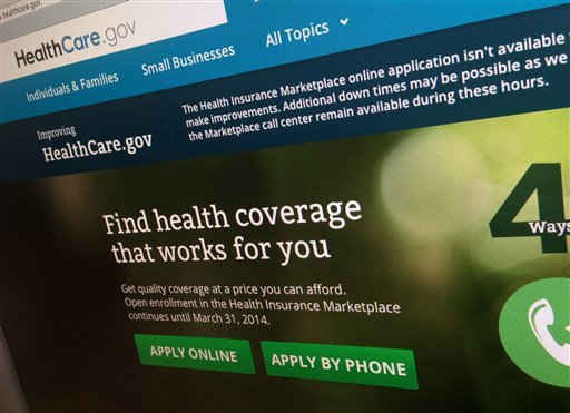 The beleaguered health insurance website has had periods of down times as as the government tries to fix the problems. (AP Photo/Jon Elswick)