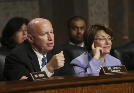 Joint Economic Committee members chairman Rep. Kevin Brady (R-TX) (L) and co-chair Sen. Amy Klobuchar (D-MN) (R). (REUTERS/Gary Cameron)