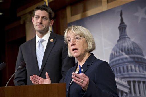 House Budget Committee Chairman Paul Ryan, R-Wis., left, and Senate Budget Committee Chairwoman Patty Murray, D-Wash. (AP Photo/J. Scott Applewhite)