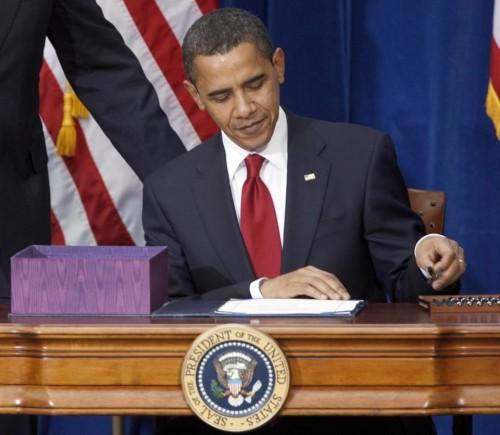 President Barack Obama signing the economic stimulus bill in 2009.  (AP Photo/David Zalubowski, File)