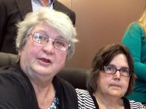 Jo Ann Dale of Otisco, Ind., and her wife, Carol Uebelhoer.  (AP Photo/Brett Barrouquere)