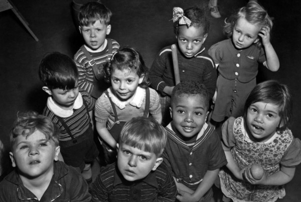 A mixed-race group of boys and girls at a nursery school in the US, circa 1965. (Photo by FPG/Archive Photos/Getty Images)