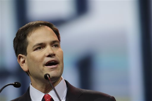 Sen. Marco Rubio, R-Fla., speaks during the leadership forum at the National Rifle Association's annual convention. (AP Photo/AJ Mast)