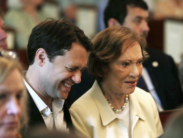 Georgia Democratic gubernatorial candidate Jason Carter sits with his grandmother former first lady Rosalynn Carter during a church service in Plains, Ga, Sunday  (AP Photo/John Bazemore)